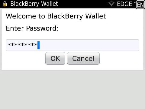 BlackBerry Wallet password