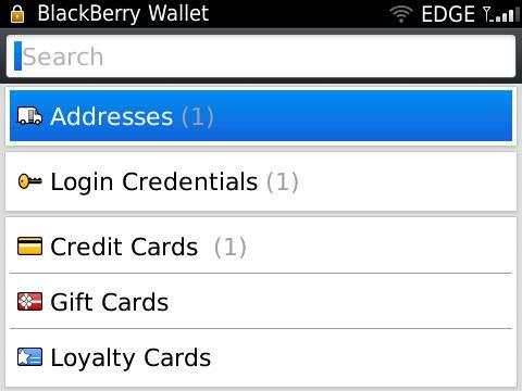 BlackBerry Wallet information