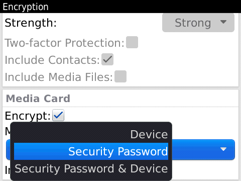 Media Card Encryption Settings in BlackBerry OS 6