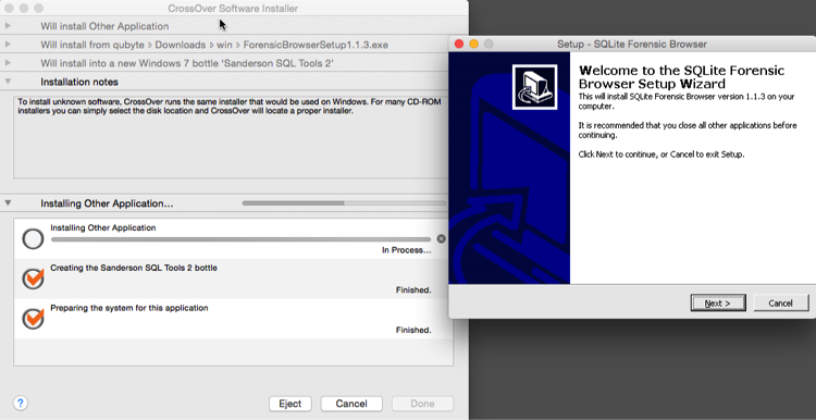 Sanderson SQLite Forensic Toolkit on a Mac OS X using