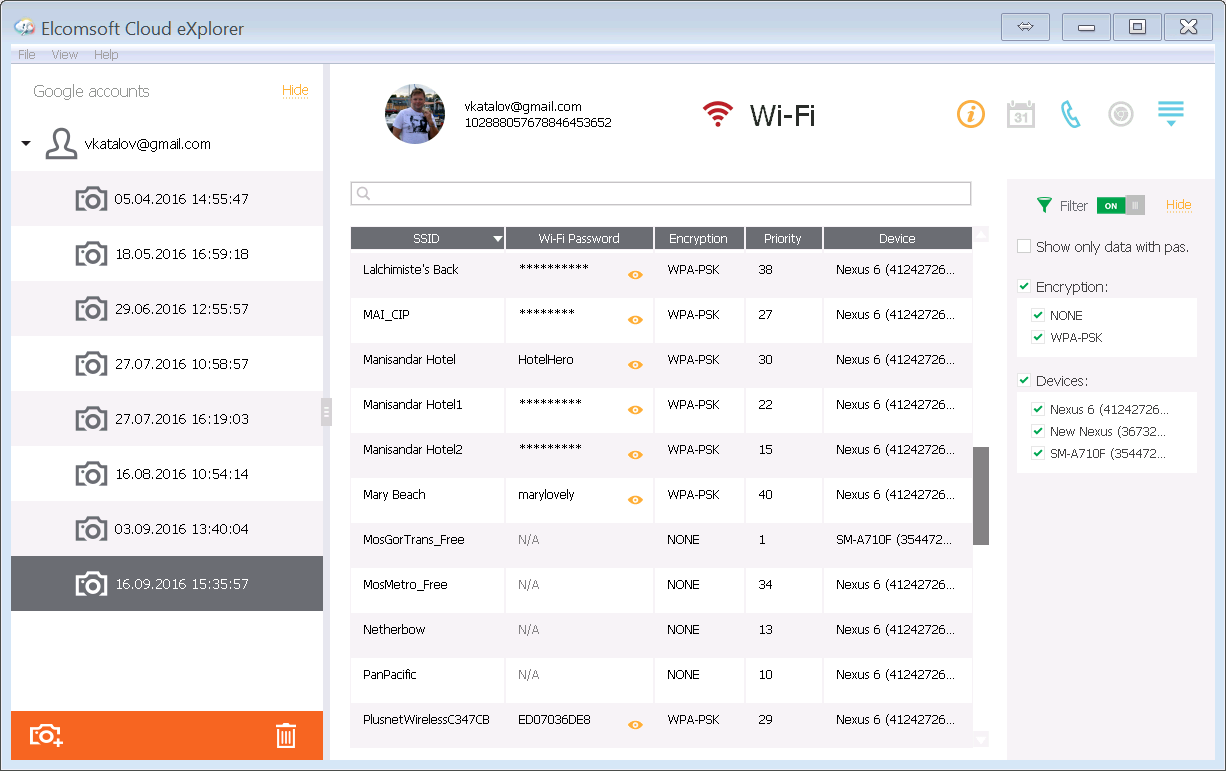 Elcomsoft Cloud Explorer: Extracting Call Logs and Wi-Fi Passwords