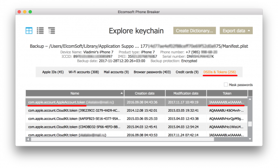 Extracting and Using iCloud Authentication Tokens | ElcomSoft blog