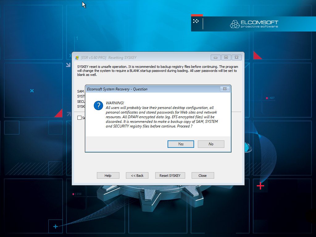 How to Reset or Recover Windows SYSKEY Passwords   ElcomSoft